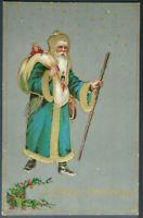 Old~ Long Blue Robe Santa Claus with Walking Stick~Toys~Christmas Postcard-a833