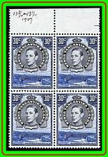 KENYA KUT 1942 KGVI TRAINS/RAILROAD BRIDGE block of 4 perf.13x13-1/2 SC#76 MNH