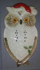 Enesco Christmas Santa Hat Owl Candy Dish Ceramic Trinket Tray Plate Vintage