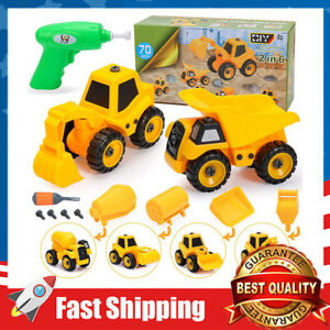 2 in 6 Construction Truck Take Apart Toys w/ Electric Drill Gift for Age 3+ Boys