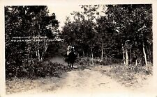 Houghton Lake Michigan 1930s RPPC Real Photo Postcard Morning Canter Horseback