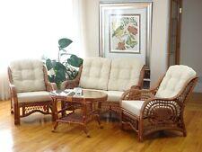 Malibu Rattan Living Set 2 Chairs Loveseat Coffee Table Colonial Cream Cushions