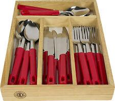 24 Pezzi Rosso Posate in Acciaio Inossidabile Set da cucina in legno Storage VASSOIO FILO STAND