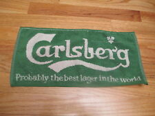 Vintage 70s Carlsberg Lager Beer Woven Cloth Bar Room 17 x 8 Towel