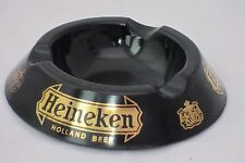 Vintage Heineken round black milk glass ashtray, gold graphics, made in france