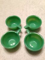 Vintage Akro Agate Set Of 4 Small Ring Green Tea Cups