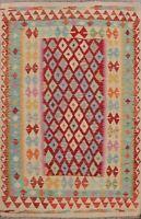 Diamond Reversible Kilim Oriental Area Rug Pastel Color Wool Hand-woven 5x7 ft
