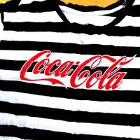 Coca Cola Coke Womens Sz XL Black & White Striped With Red Logo Half Shirt WS3