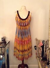 NEW TORY BURCH Saffron Tribal PRINT Crinkle Silk Chiffon Empire Waist DRESS Sz 6