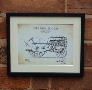 USA Patent Drawing vintage JOHN DEER TRACTOR farming MOUNTED PRINT 1930 farm