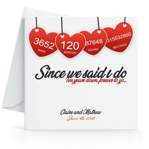 Personalised 10th Wedding Anniversary Card - Printed Hearts Wife Husband Tenth