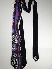 "Art Deco Unknown Brand Silk Tie Made In Korea Multi-Color Abstract 59"" x 4"""