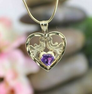 Solid 14K Yellow Gold pendant Amethyst Hear/ with Doves