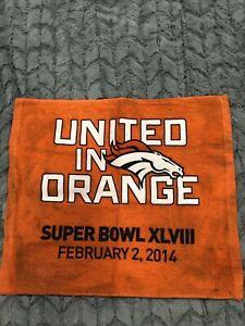 """DENVER BRONCOS Superbowl XLVIII ( 48 ) """" United in Orange"""" Rally Towel! Feb 2014"""