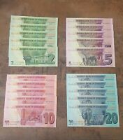 Set 4 Banknotes Zimbabwe 2 5 10 20 Dollars 2019/2020 UNC Pick New