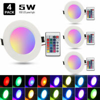 4x RGB 16 Color LED Light LED Ceiling Recessed Panel Downlight Spot Lamp+Remote