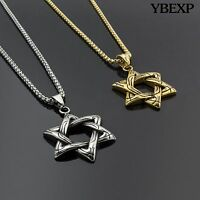 Men's Stainless Steel Gold Silver Star Of David Pendant Round Box Necklace Chain