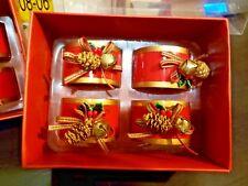 LENOX Set of 4 Metal Napkin Ring Holder Christmas Winter Greetings FREE SHIPPING