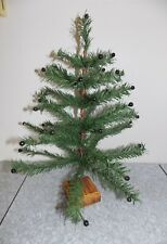 """Vtg 21"""" Xmas Chic Primitive BERRY Twig FEATHER Style CHRISTMAS TREE Table Top"""