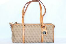 Dooney & Bouke Tan Signature Jacquard Leather Mini Duffle Satchel Bag Purse