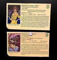 April O'Neil & Splinter Vintage TMNT Ninja Turtles Figure File Bio Card Lot