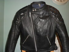 VINTAGE leather biker jacket SIZE 38 SMALL-NICE SCUFFING-TT LEATHERS-CAFE RACER