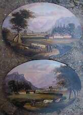 Paire de tableau XIX° (vers 1850) Barbizon Paysage alpestre animé Ovale