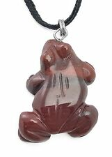 Frog Pendant Red Jasper Gemstone Pendant Hand Carved Stone Necklace Jewelry