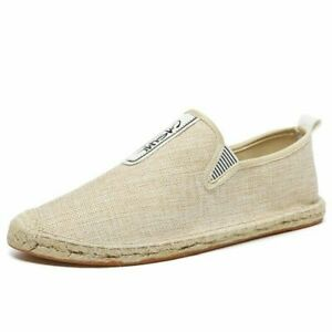 Mens Linen Round Toe Flat Heel Summer Casual Canvas Breathable Espadrille Shoes