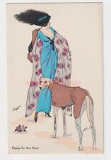 XAVIER SAGER - BEAUTIFUL ELEGANT WOMAN HAT & DOG 'READY FOR THE PARK' PC - XS01