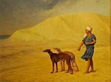 Gerome en el desierto árabe perros de caza galgos corriendo 8x6 pulgadas impresión
