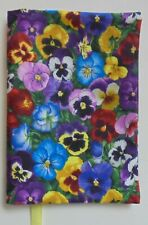 Fabric Paperback Book Cover Pansy Fabric Floral Print Fabric Colorful Pansies