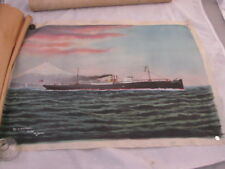 Beautiful Hand Painting on Silk of Lancaster Ship in Japan Signed ~