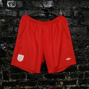 England Team Football Shorts With Pockets Red Color Umbro Mens Size XXL