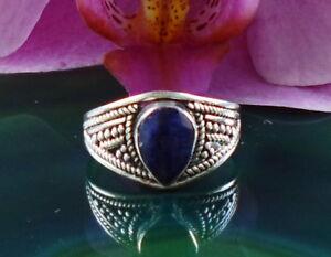 Rx Anneau Goutte De Lapis Lazuli Pierre Le Amitié Sterling Argent 925
