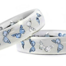 925 Silver Women Butterfly White Topaz Band Ring Wedding Jewelry Gift Size 5-11
