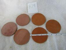 "Nos Precut Leather Circles 3 1/4"" diameter set of 6"