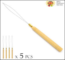 5 x Wooden Pulling Loop Needle Threader For Micro Ring Hair Extensions UK Stock
