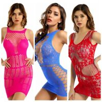 Sexy Women's Hollow Out See Through Mesh Mini Dress Bodycon Party Clubwear Night