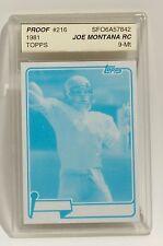 1981 Topps #216 Joe Montana RC Rookie Progressive Blue Proof 1/1 49ers ASA 9