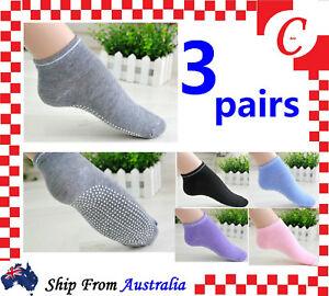 3Pairs Ladies Women Sports Cotton Rich Pilates Yoga Non-Slip Grip Socks Size 2-8