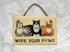 Slate Stone for Cat Lovers Hanging Hand Painted Sign Plaque - Wipe Your Paws !
