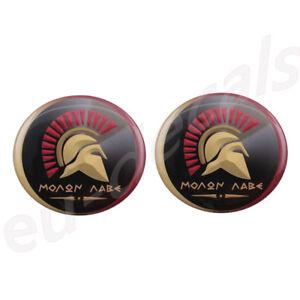 "2X small MOLON LABE ""come and take [them]"" 3D Decal sticker Spartan helmet 300"