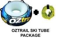 """OZTRAIL 54"""" SINGLE PERSON SKI TUBE WITH TOW ROPE WATER TUBING TOWABLE INFLATABLE"""
