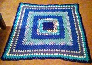 shades of blue crocheted granny square afghan 45 x 45