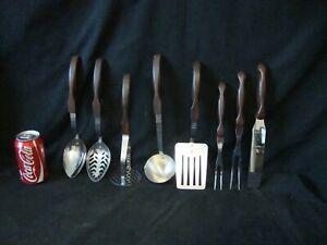 Vintage Set Of 8 Cutco Kitchenware Utensils Composite Brown Red Swirl Handles