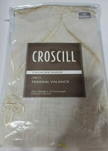 "Croscill Cavalier Sheer Federal Valance 75""x13"" Ivory Embroidered Fleur-de-lis"
