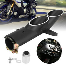 Black Dual Outlet Exhaust Muffler Pipe Tailpipe For Yamaha YZF-R6 Suzuki GSX-R