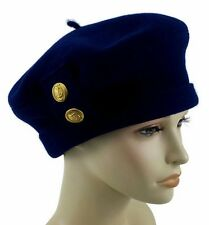 Women French Hat Wool Solid Fregate Blue Beauregard Size 7 1/8 Made In France