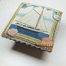 Yacht Club Sailing Nautical Ocean Seashells Tapestry Square Footstool
